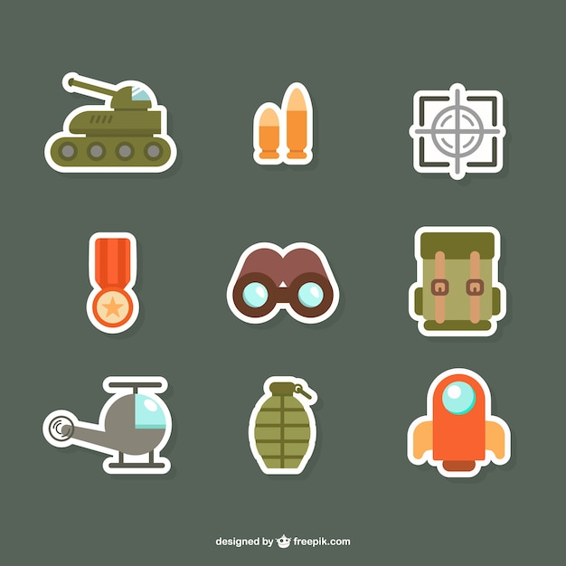 Army flat icons Free Vector
