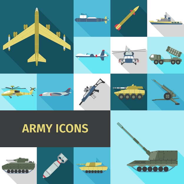 Army icons flat Free Vector
