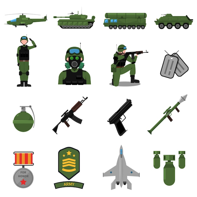 Army icons set Free Vector