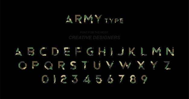 Army original font a set of letters and numbers in camouflage Premium Vector