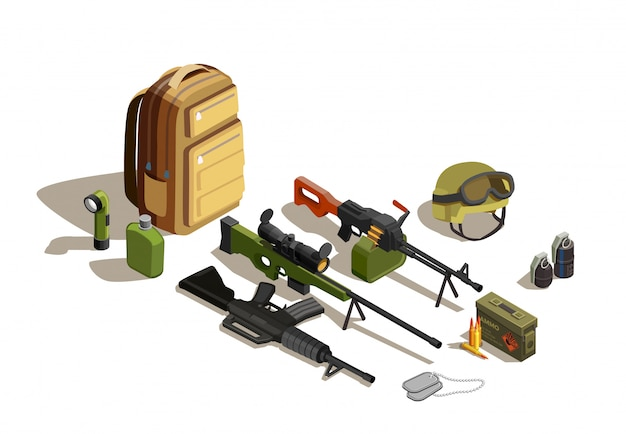 Army personnel isometric military kit Free Vector