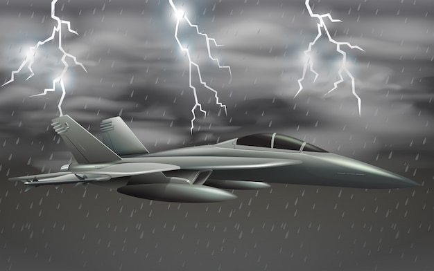 An army plane on bad weather sky Free Vector
