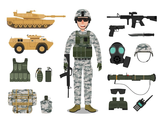 Army soldier character with military vehicle Premium Vector