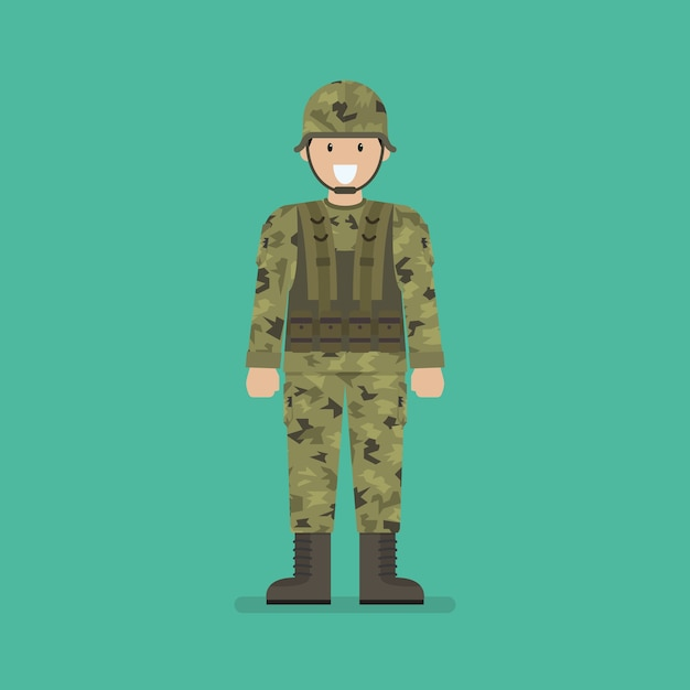 Army soldier character Premium Vector