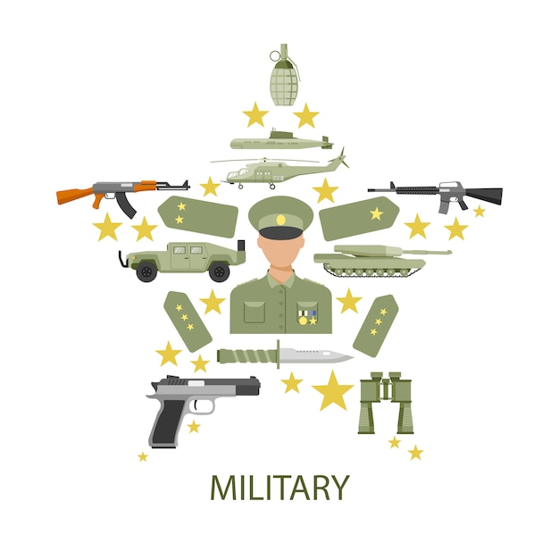 Army star composition Free Vector