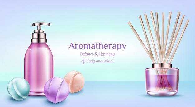 Aromatherapy spa treatment cosmetics. Free Vector