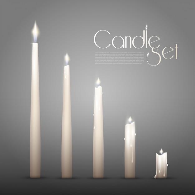 Aromatic burning candles animation set Free Vector