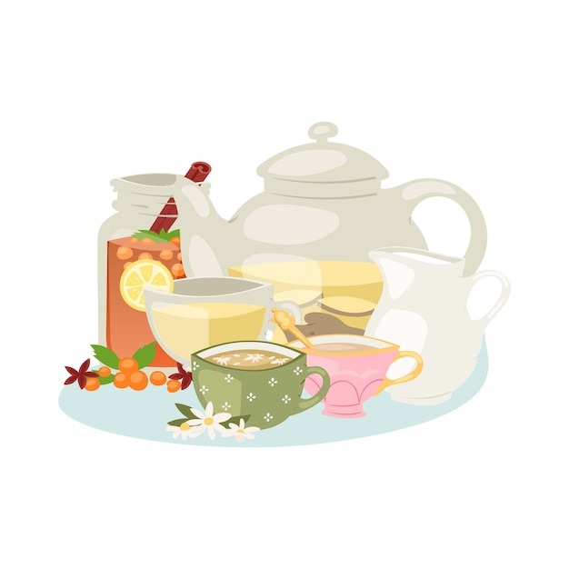 Aromatic herbal tea with herbs and spices ingredients chamomile, lemon and star anise, rose hip, jasmine, vanilla bean and teapot  illustration. Premium Vector