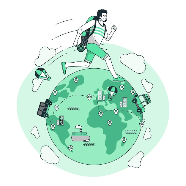 Around the worldconcept illustration Free Vector