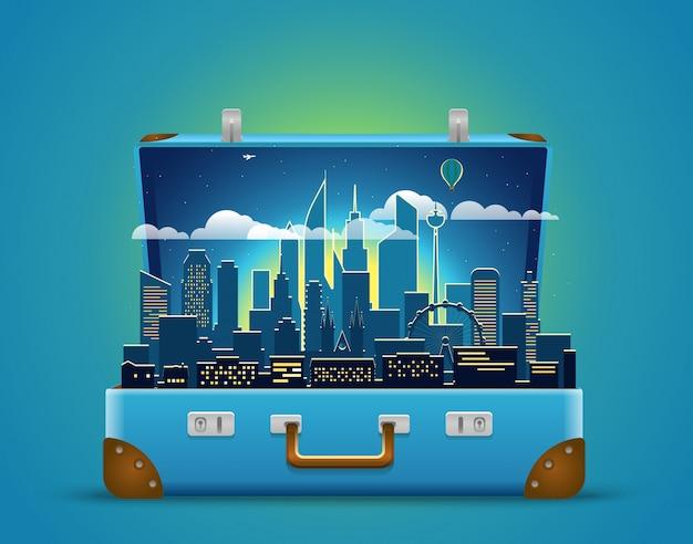 Around the world concept. modern cityscape night scene Premium Vector