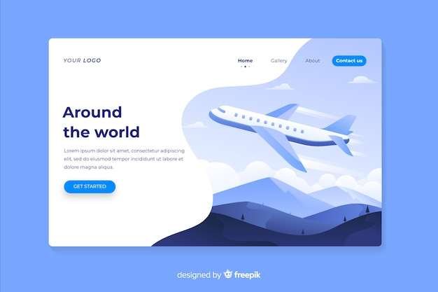 Around the world travel landing page Free Vector