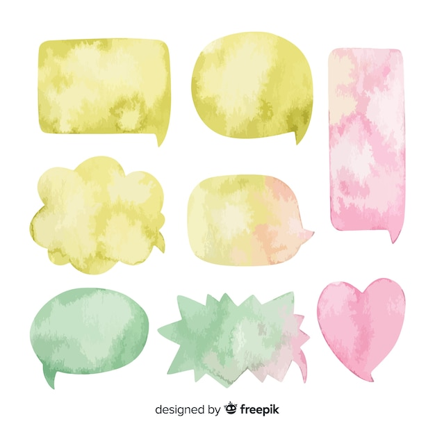 Arranged watercolored speech bubbles collection Free Vector