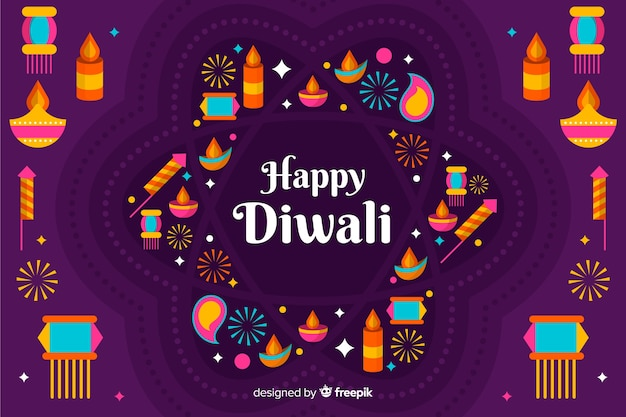 Arrangement of candles and lights flat diwali background Free Vector