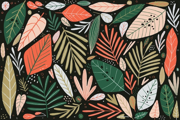 Arrangement of colorful leaves wallpaper Free Vector