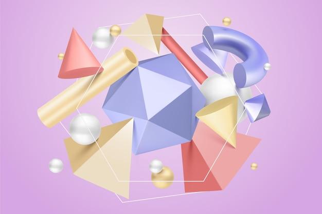 Композиция из антигравитационных геометрических фигур 3d-эффект Бесплатные векторы