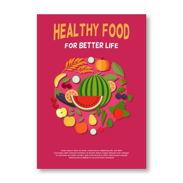 Композиция плаката здоровой пищи Бесплатные векторы