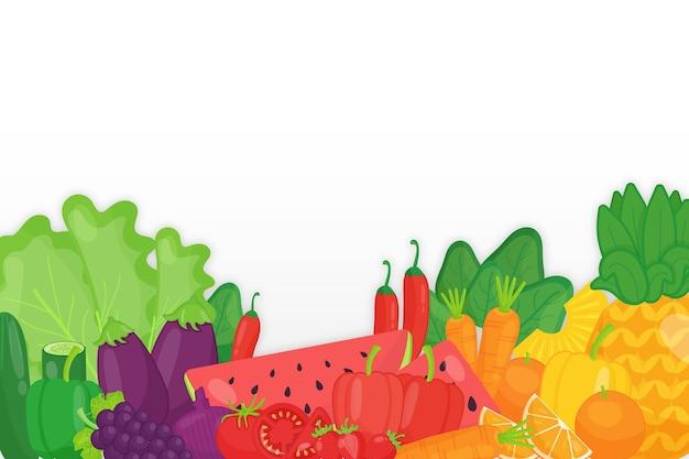モノクロの果物と野菜の背景の配置 無料ベクター