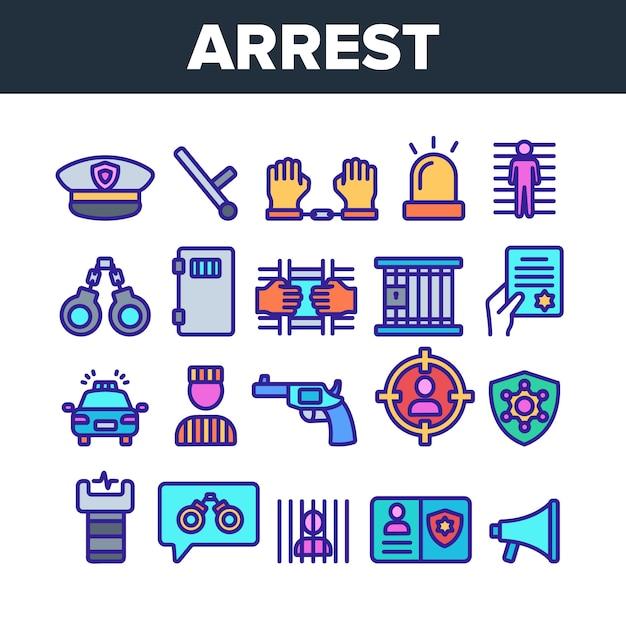 Arrest elements sign icons set Premium Vector