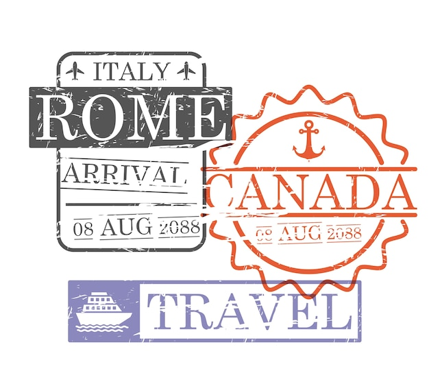 Arrival ship travel stamps Premium Vector