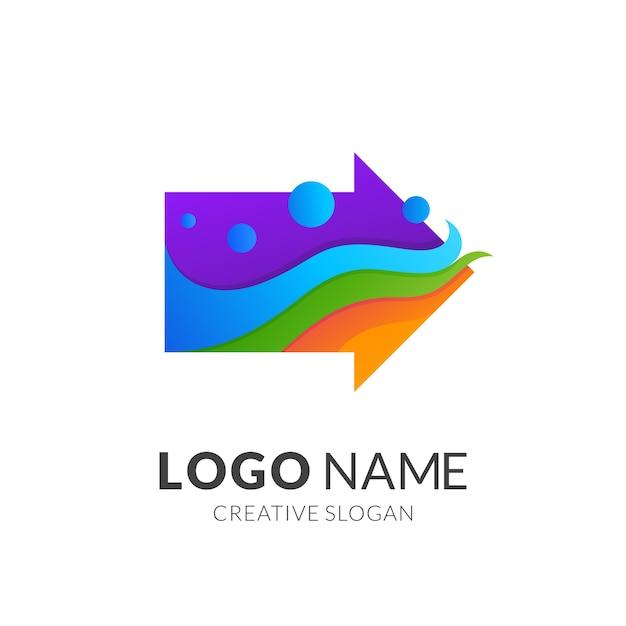 矢印と波のロゴのコンセプト、グラデーションの鮮やかな色のモダンなロゴスタイル Premiumベクター