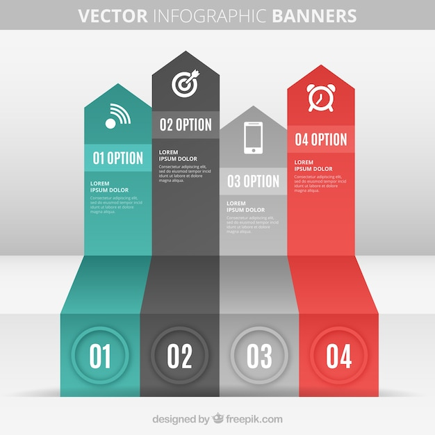 Arrow banners infographic Vector | Premium Download