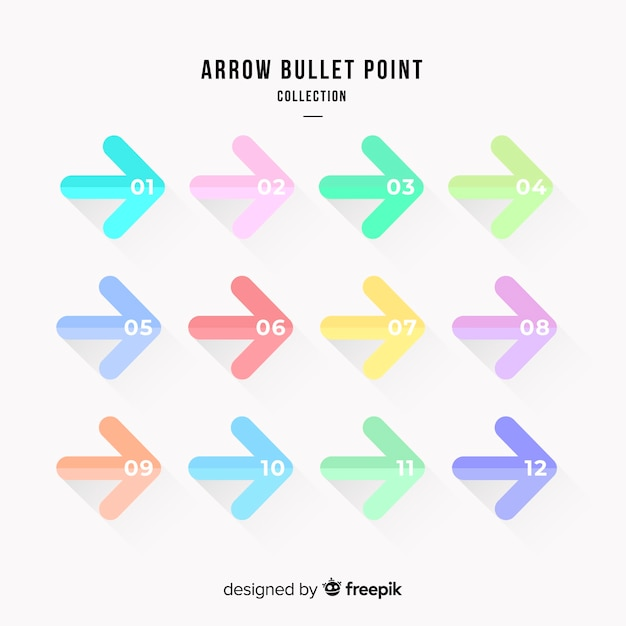 Arrow bullet point collection Free Vector