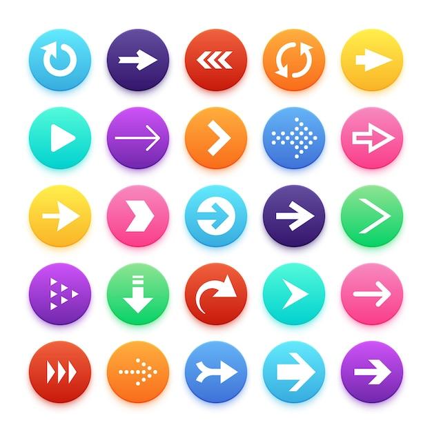 Arrow color web button icons. Premium Vector