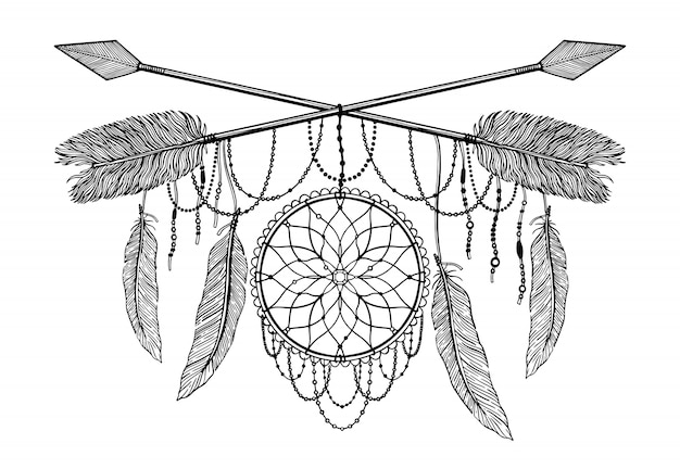 Arrow crossing amulet in ethical and mandala in style tattoo. Premium Vector