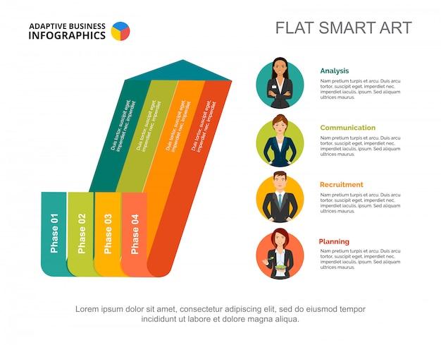 Arrow Diagram Graphic Presentation Four Phase Infographic Editable