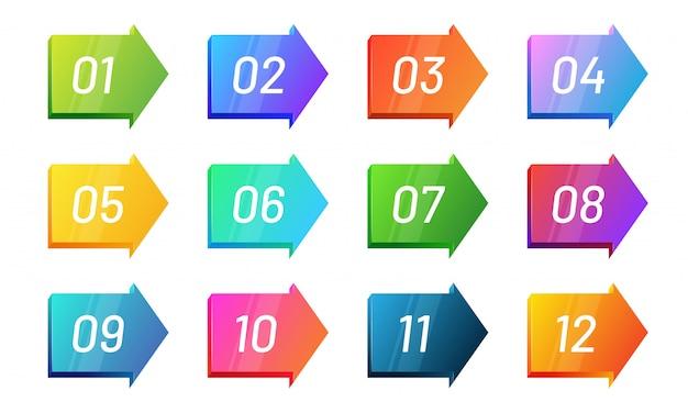 Набор маркеров с номером направления стрелки от 1 до 12. коллекция ярких градиентных значков Premium векторы