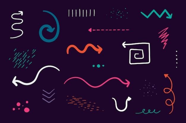 Arrow doodles set Free Vector