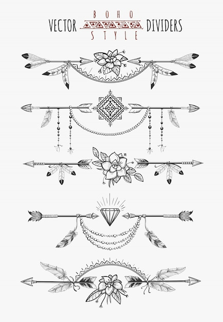 Arrow feather page dividers Premium Vector