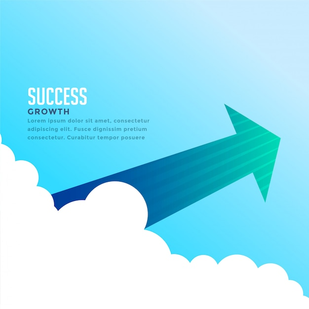 Arrow flying through the clouds background Free Vector