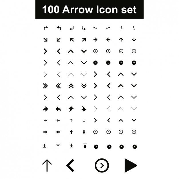 Arrow icon set Free Vector