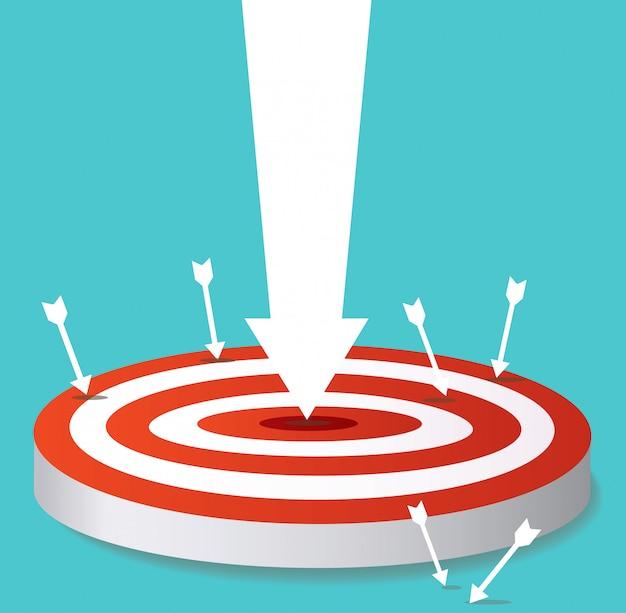 Arrow icon on target archery Premium Vector