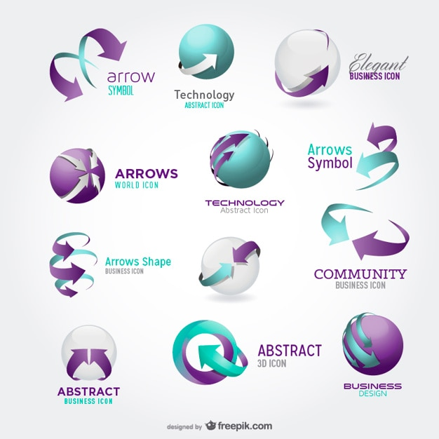 arrow icons for logos in blue and green Free Vector