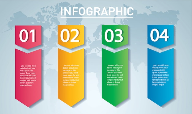 Arrow infographic template with 4 options Premium Vector