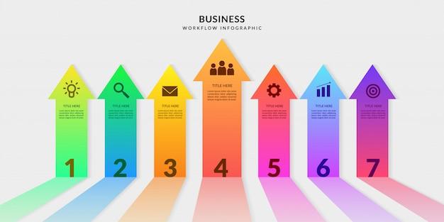 Arrow infographic with editable segments, colorful graphic workflow elements Premium Vector
