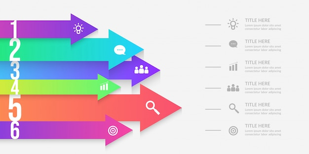Arrow infographic with editable segments, colorful graphic workflow elements Premium Vector