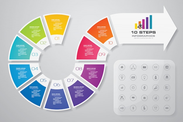 Arrow infographics design element. Premium Vector