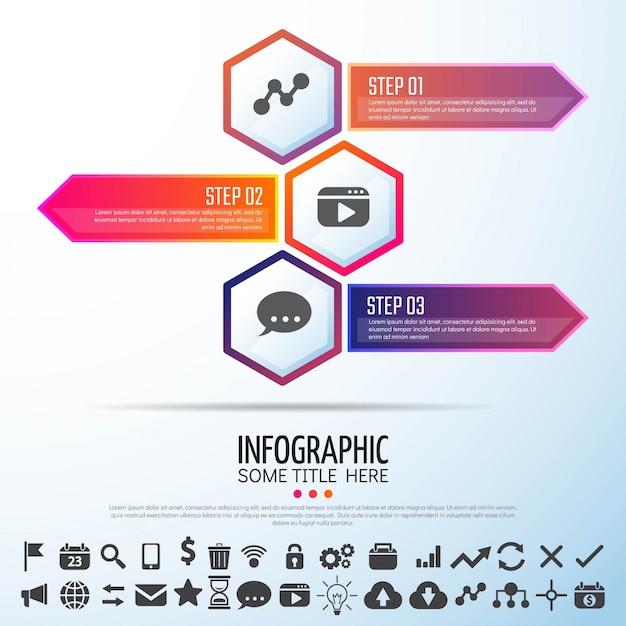 Arrow infographicsデザインテンプレート 無料ベクター
