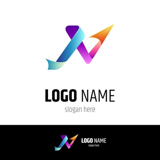 矢印文字nビジネスロゴテンプレート Premiumベクター