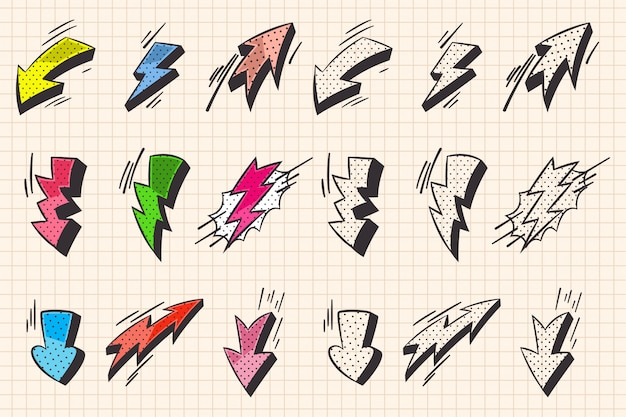 Arrow and lightning flash comic book and doodle style elements Premium Vector