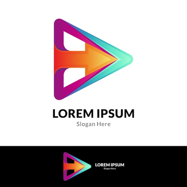 Arrow media play modern logo template Premium Vector