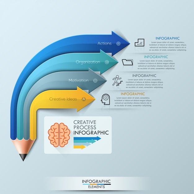 Arrow pencil infographic design template Premium Vector