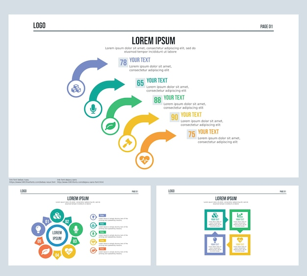 Arrow Rotation Square Set Presentation Slide And Powerpoint Template
