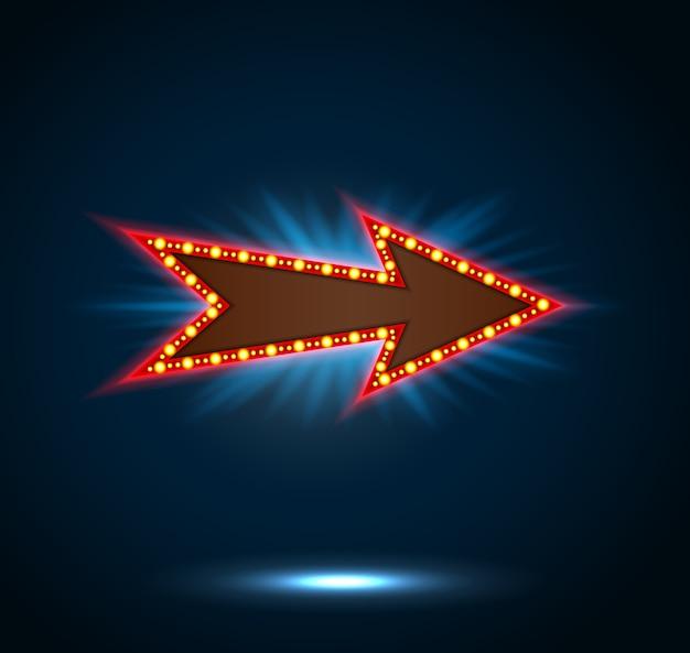 Знак стрелки с лампочками на синем фоне Premium векторы