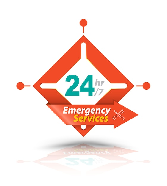 Arrow square emergency services 24h Premium Vector