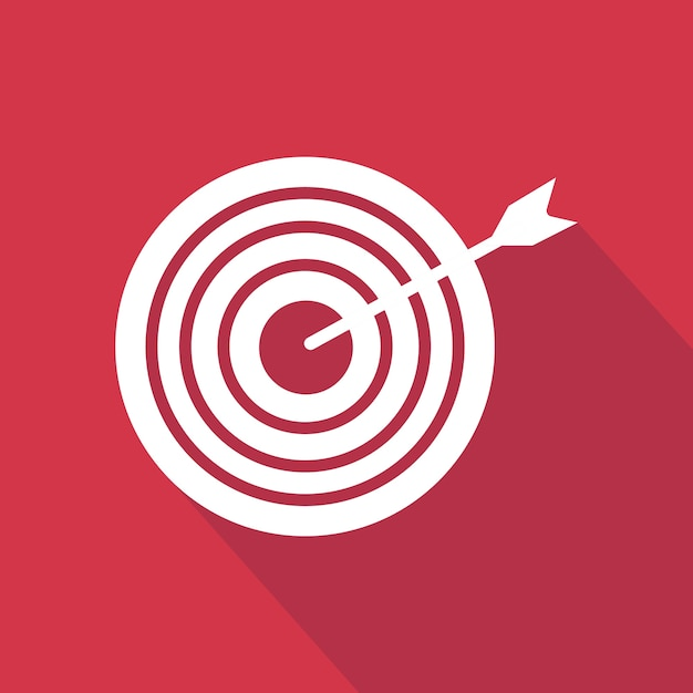 Arrow and target icon. flat icon with long shadow design collection. Premium Vector