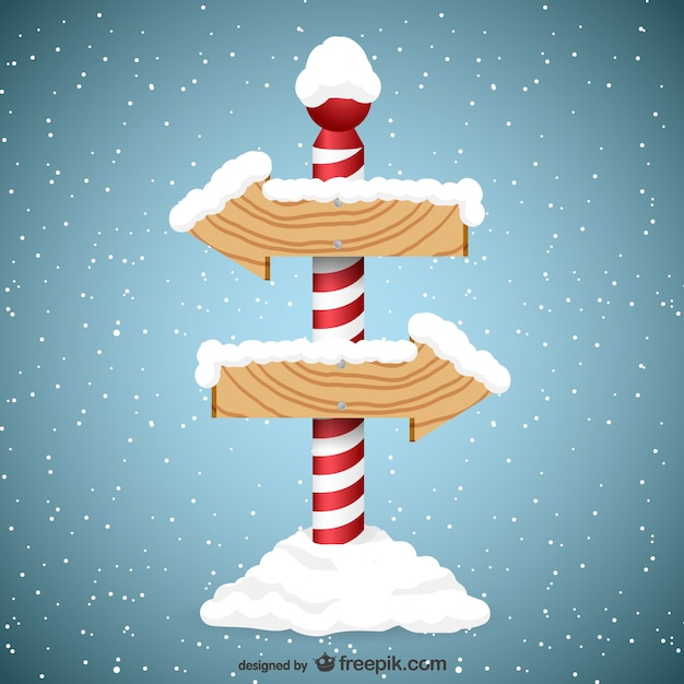 Christmas Arrow Signs.Arrow Wooden Signs With Snow Vector Free Download
